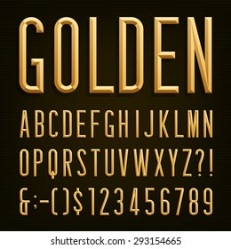 Gold effect beveled narrow letters, numbers and punctuation marks. Stock vector for your headlines, posters etc.