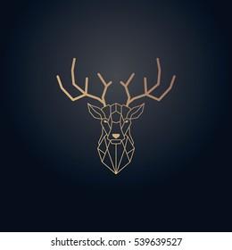 Gold effect deer head and horns vector design