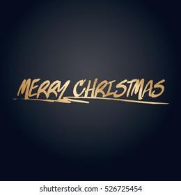 Gold effect merry christmas text vector design