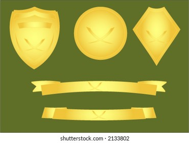Gold effect vector image of shields and banners