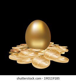 Gold egg in golden coins isolated. Vector illustration