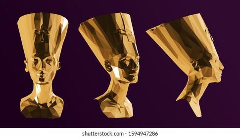 Gold Egyptian Queen Nefertiti. Shiny Metallic Set of Golden Cleopatra Sculptures on Purple Background. Low Poly Vector 3D Rendering