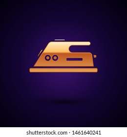 Gold Electric iron icon isolated on dark blue background. Steam iron.  Vector Illustration