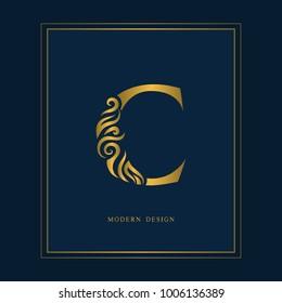 Gold Elegant letter C. Graceful royal style. Calligraphic beautiful logo. Vintage drawn emblem for book design, brand name, business card, Restaurant, Boutique, Hotel. Vector illustration