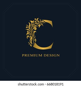 Gold Elegant letter C. Graceful style. Calligraphic beautiful logo. Vintage drawn emblem for book design, brand name, business card, Restaurant, Boutique, Hotel. Vector illustration