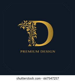 Gold Elegant letter D. Graceful style. Calligraphic beautiful logo. Vintage drawn emblem for book design, brand name, business card, Restaurant, Boutique, Hotel. Vector illustration