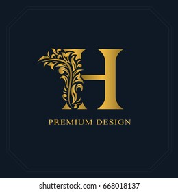 Letter h flowers images stock photos vectors shutterstock gold elegant letter h graceful style calligraphic beautiful logo vintage drawn emblem for altavistaventures Image collections