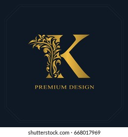Gold Elegant letter K. Graceful style. Calligraphic beautiful logo. Vintage drawn emblem for book design, brand name, business card, Restaurant, Boutique, Hotel. Vector illustration