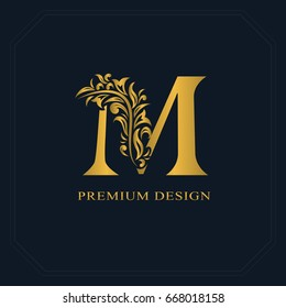 Gold Elegant letter M. Graceful style. Calligraphic beautiful logo. Vintage drawn emblem for book design, brand name, business card, Restaurant, Boutique, Hotel. Vector illustration