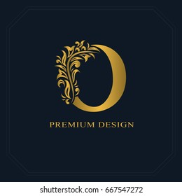 Gold Elegant letter O. Graceful style. Calligraphic beautiful logo. Vintage drawn emblem for book design, brand name, business card, Restaurant, Boutique, Hotel. Vector illustration