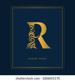 Gold Elegant letter R. Graceful royal style. Calligraphic beautiful logo. Vintage drawn emblem for book design, brand name, business card, Restaurant, Boutique, Hotel. Vector illustration
