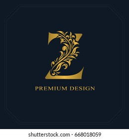 Gold Elegant letter Z. Graceful style. Calligraphic beautiful logo. Vintage drawn emblem for book design, brand name, business card, Restaurant, Boutique, Hotel. Vector illustration