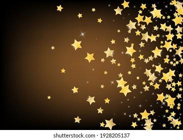 Gold Elegant Stars Vector Brown Background. Christmas Dust Wallpaper. Glow Template. Yellow Shiny Glitter Banner.