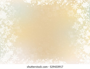 Gold elegant winter background with the snowflake border