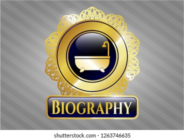 Gold emblem or badge with bathtub icon and Biography text inside