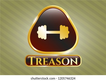 Gold emblem or badge with big dumbbell icon and Treason text inside
