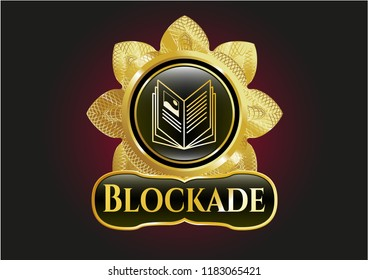 Gold emblem or badge with book icon and Blockade text inside