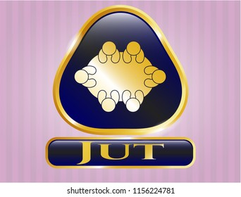 Gold emblem or badge with business meeting teamwork icon and Jut text inside