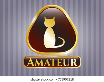 Gold emblem or badge with cat icon and Amateur text inside