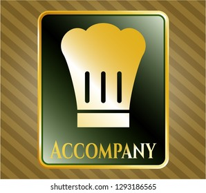 Gold emblem or badge with chef hat icon and Accompany text inside