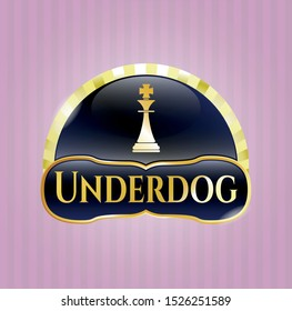 Gold emblem or badge with chess king icon and Underdog text inside