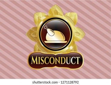 Gold emblem or badge with chicken dish icon and Misconduct text inside