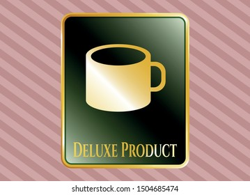 Gold emblem or badge with coffee cup icon and Deluxe Product text inside
