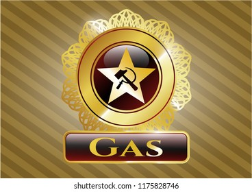 Gold emblem or badge with communism icon and Gas text inside