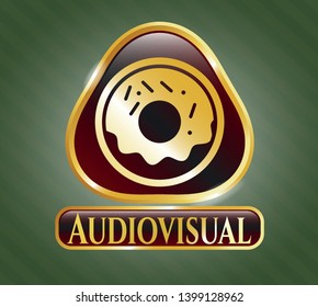 Gold emblem or badge with donut icon and Audiovisual text inside
