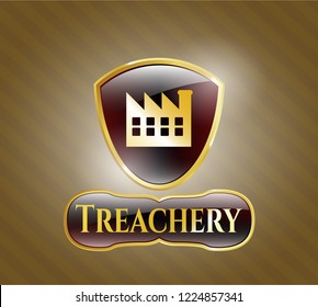Gold emblem or badge with factory icon and Treachery text inside