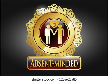 Gold emblem or badge with gay men love icon and Absent-minded text inside