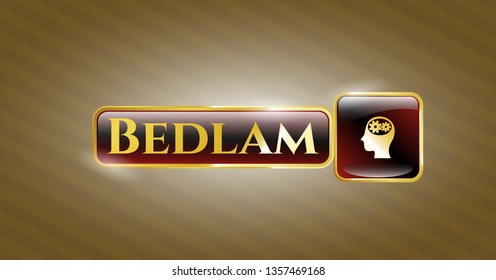 Gold emblem or badge with head with gears inside icon and Bedlam text inside