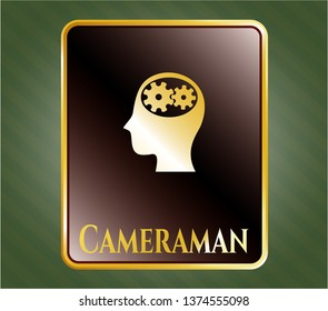 Gold emblem or badge with head with gears inside icon and Cameraman text inside