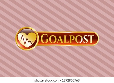 Gold emblem or badge with heart with electrocardiogram icon and Goalpost text inside