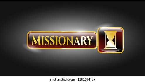 Gold emblem or badge with hourglass icon and Missionary text inside