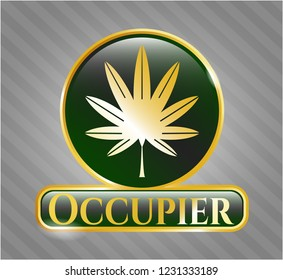 Gold emblem or badge with marijuana leaf, weed icon and Occupier text inside