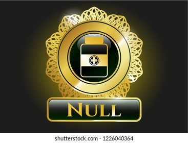 Gold emblem or badge with medicine bottle icon and Null text inside