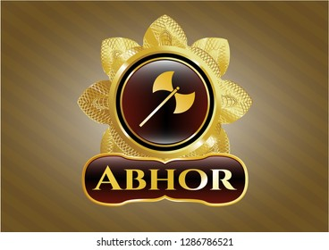 Gold emblem or badge with medieval axe icon and Abhor text inside