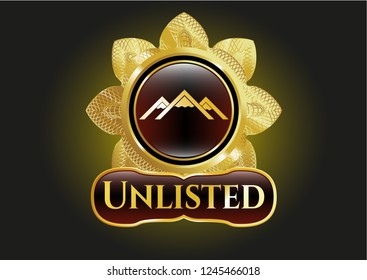 Gold emblem or badge with mountain icon and Unlisted text inside