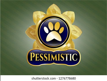 Gold emblem or badge with paw icon and Pessimistic text inside