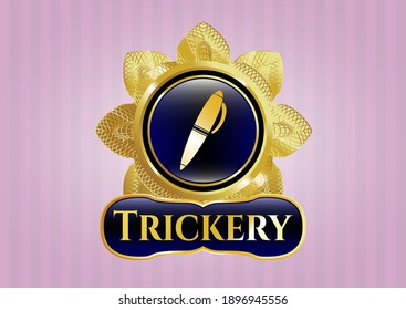 Gold emblem or badge with pen icon and Trickery text inside
