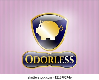 Gold emblem or badge with piggy bank icon and Odorless text inside