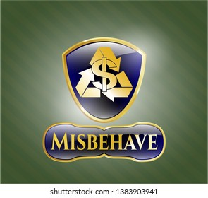 Gold emblem or badge with recycling business icon and Misbehave text inside