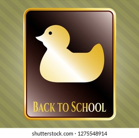 Gold emblem or badge with rubber duck icon and Back to School text inside
