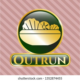 Gold emblem or badge with salad icon and Outrun text inside