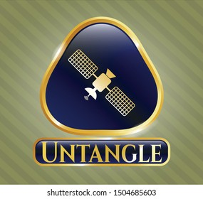 Gold emblem or badge with satelite icon and Untangle text inside