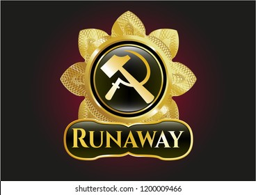 Gold emblem or badge with sickle and hammer icon and Runaway text inside