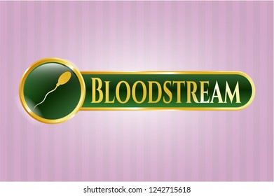 Gold emblem or badge with sperm icon and Bloodstream text inside