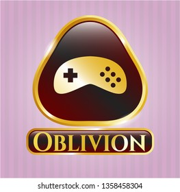 Gold emblem or badge with video game icon and Oblivion text inside