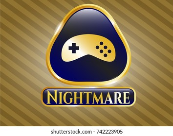 Gold emblem or badge with video game icon and Nightmare text inside